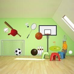 Kit Cameretta Sports Balls Wall Sticker Adesivo da Muro Componibile