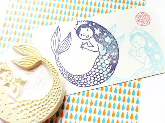 princess mermaid stamp. hand carved rubber stamp. fairytales. hans c. andersen. birthday craft projects