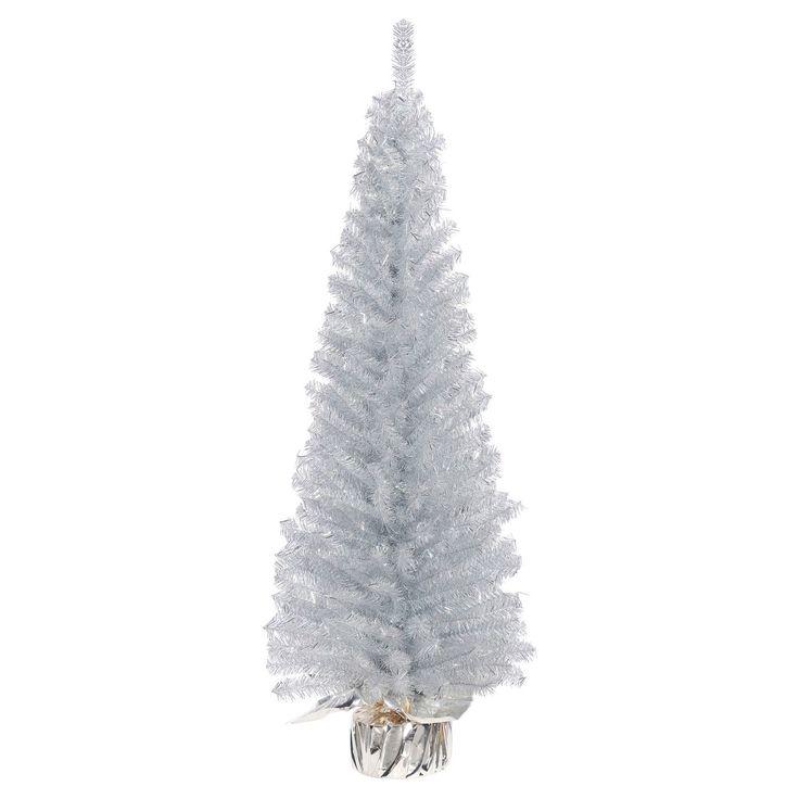 Silver Slim Christmas Tree Part - 21: Vickerman 4ft Unlit Silver Slim Artificial Christmas Tree