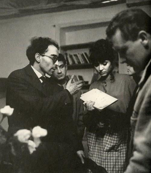 """Jean-Luc Godard directs Anna Karina and Jean-Claude Brialy on the set of """"Une Femme est Une Femme"""" (1961)"""