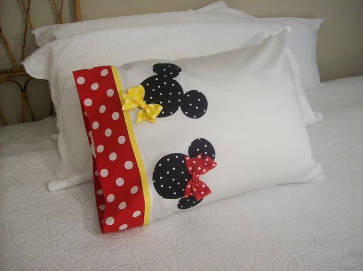 Custom Boutique - Mickey & Minnie Mouse - Red and White Polka Dot - Disney Trip Character Autograph Souvenir Pillowcase - Bedding. $21.99, via Etsy.