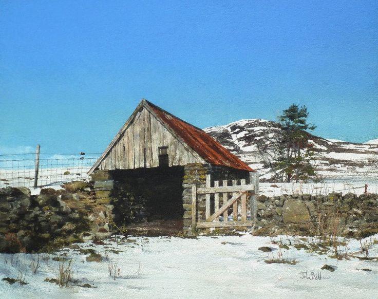 John Bell_Finegand Barn, Glen Shee_Acrylic_18x24 | Scottish Contemporary Art
