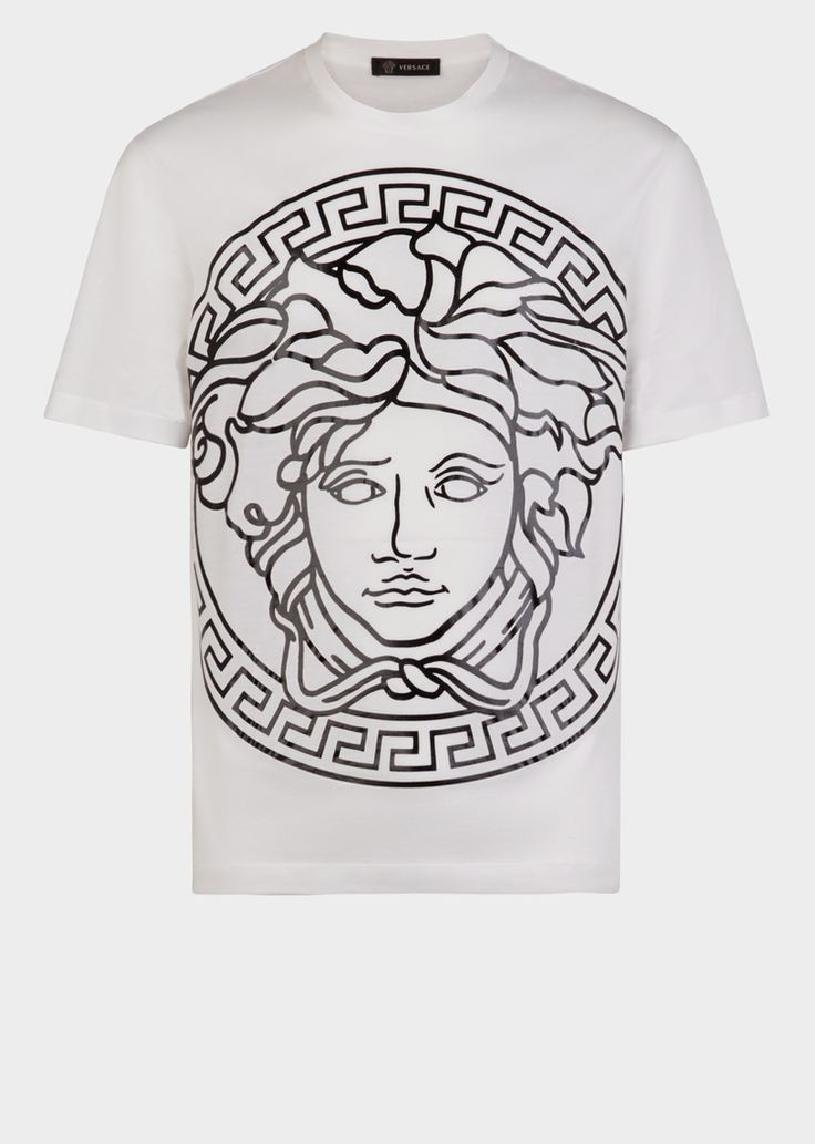 Versace Medusa Head embossed t-shirt for Men | US Online Store. Medusa Head embossed t-shirt from Versace Men's Collection. Emblazoned with a large embossed Medusa, this shirt has a captivating and commanding presence. Part of Versace's online Athleisure collection, this sartorial statement piece is not sold in stores.