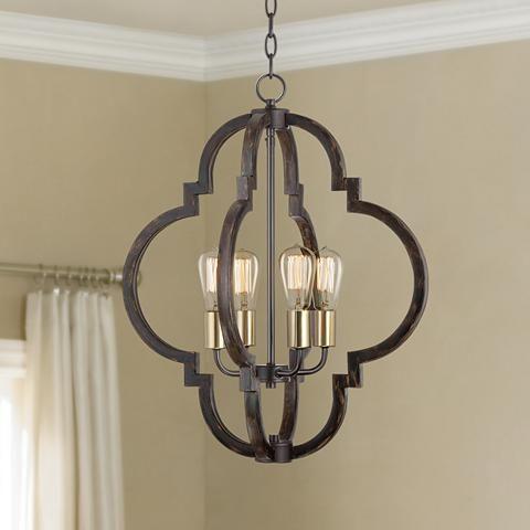 "Ayoura 20"" Wide Wood Grain 4-Light LED Pendant Chandelier - #9H235   Lamps Plus Above the breakfast nook...."