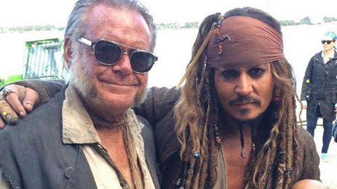 Kevin McNally and Johnny Depp on set of dead men tell no tales