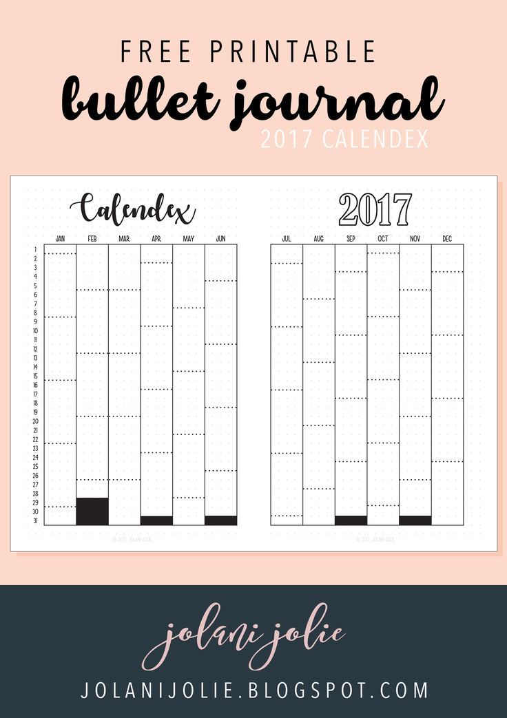 Free Printable For 12 Months Of Pre Planned Date Nights: Free Printable: Bullet Journal 2017 Calendex