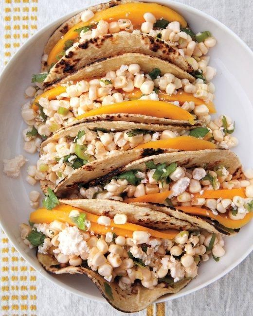 Cotija and Corn Tacos with Lime and Mango | Recipe