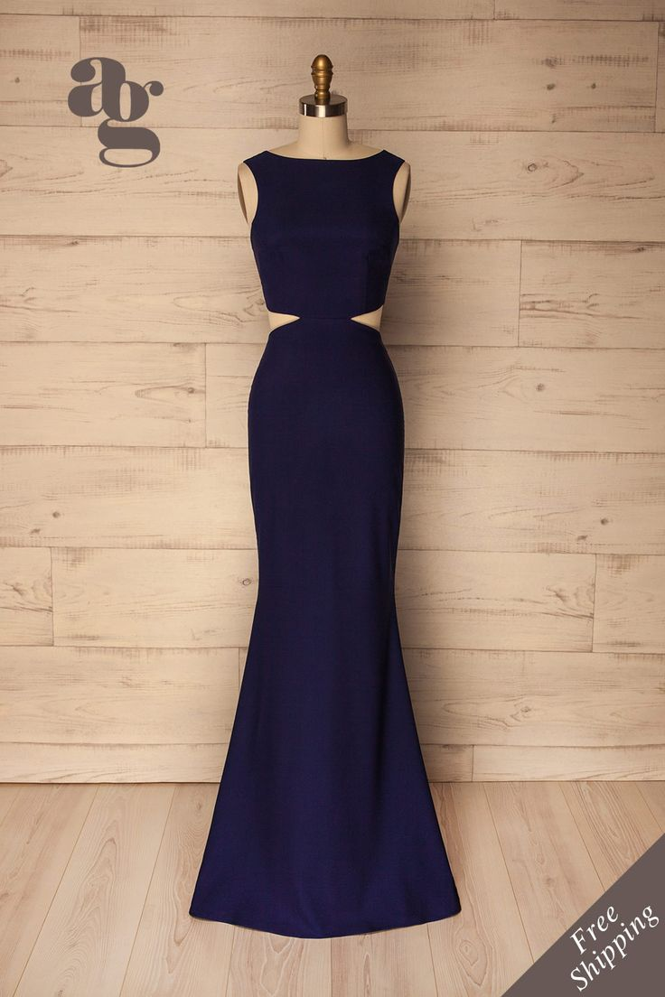 Vallata Bleu #boutique1861 / You will be a sublime vision in blue while wearing this undeniably elegant evening gown. Its classic mermaid cut contrasts its modern side cut-outs, giving it a memorable look. Increase its distinguished style by adding silver jewelry and black pumps.