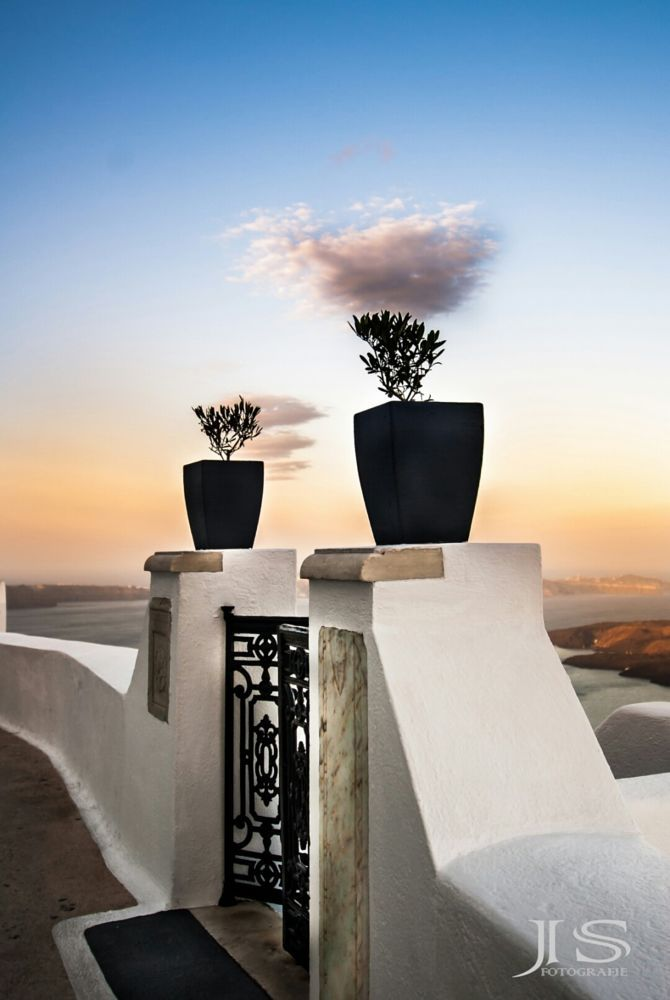 Gate with olive tree pots, Santorini, Greece