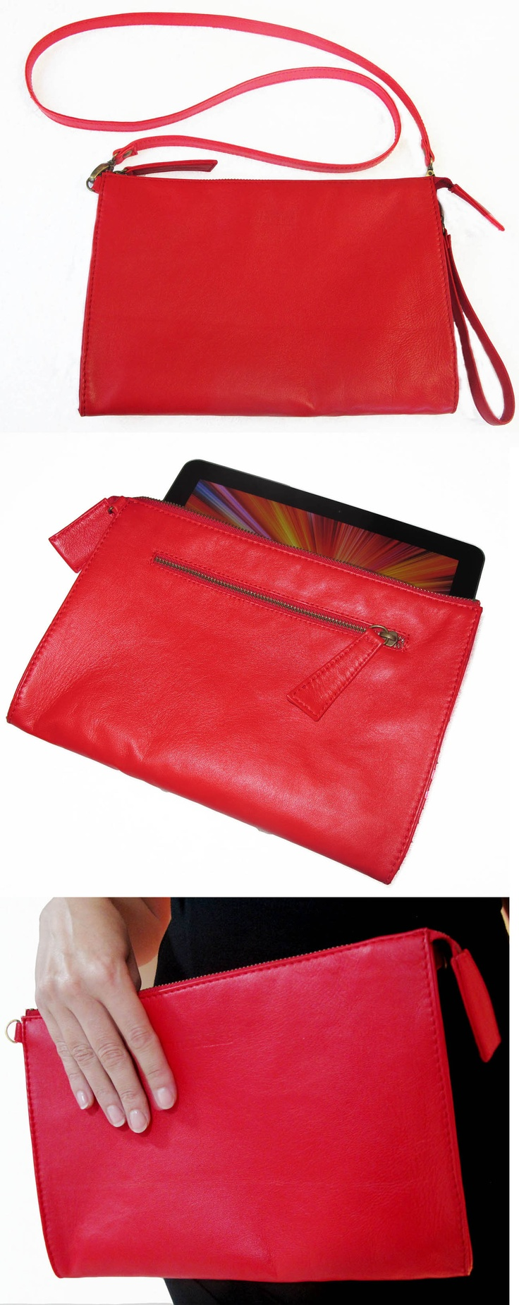 This bag is handmade with genuine leather  Can be used as a clutch, a cross body purse or tablet cover, (the size fits IPad and Galaxy tablet) come with detachable long strap and detachable wrist strap, fully lined with soft suede-like fabric, two slip pockets inside and metal zip pocket outside.    As it could be used as tablet Ipad or Galaxy case it can be useful for your male customers  $85 US