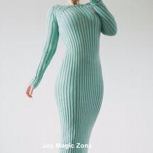 Ücretsiz kargo L408 yeni varış bahar ve sonbahar pamuk kadın elbiseler, yüksek kalite tek parça mavi ince uzun kollu elbise(China (Mainland))