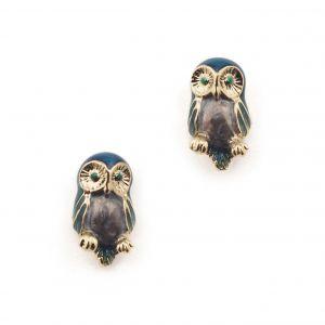 Owl Mini Stud Earring - Blue