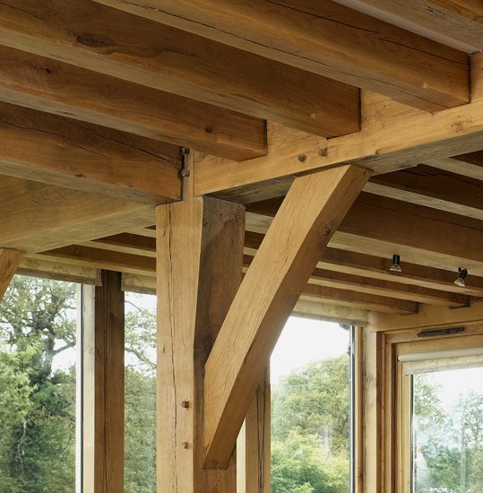 Perfect Oak post floor beam and floor joists in garden room