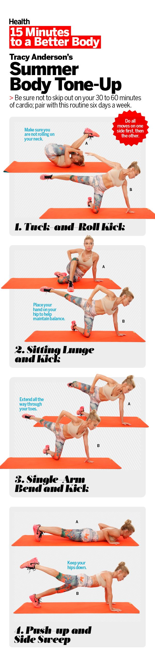 To reveal your best body this summer, try this total-body sculpting series with celebrity fitness trainer Tracy Anderson. These toning exercises are so intense, you'll drop pounds faster for a trimmer, fitter you. Watch the video to learn how to do each move. See how to do these exercise moves | Health.com