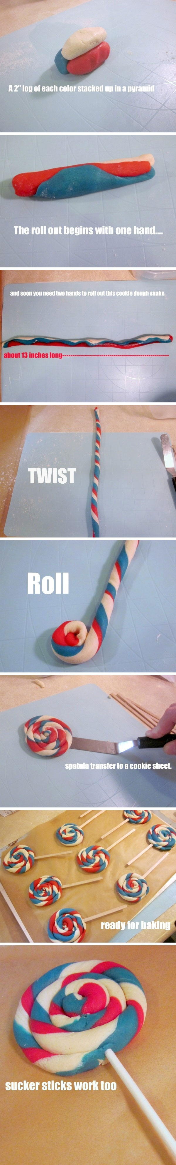 """cookie lollipop cute for 4th of July or make them any color for diff occasions!"""