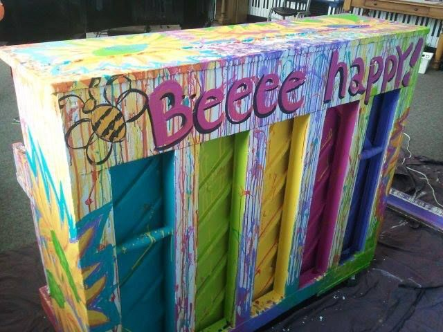 Painted Piano (back side) - Beee Happy! by Ann Iungerich