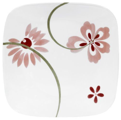 Corelle Square 10-1/4-Inch Dinner Plate, Pretty Pink by Corelle. $15.39. Patterns won?t wash, wear or scratch off. 3 year replacement warranty against breaking and chipping. Dishwasher safe for long lasting patterns. Microwave and oven use for versatility. Corelle Square 10-1/4-inch Dinner Plate, Pretty Pink