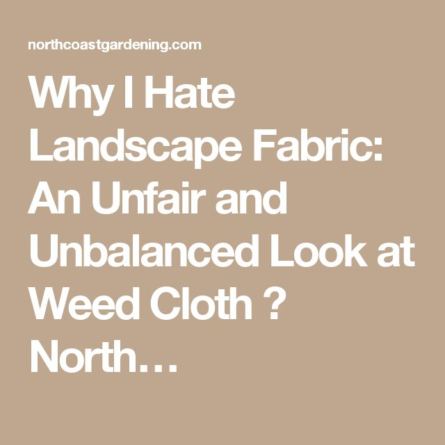 Why I Hate Landscape Fabric: An Unfair and Unbalanced Look at Weed Cloth ⋆ North…