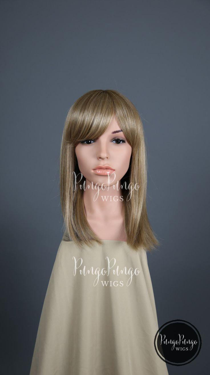 Dark Blonde Wig /Straight Long Bob + Bangs/ Short Ashy Light Brown Everyday…
