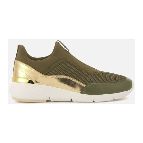 MICHAEL MICHAEL KORS Women's Ace Low Top Trainers - Olive/Gold (€160) ❤ liked on Polyvore featuring shoes, sneakers, green, olive shoes, low profile shoes, low top, gold trainers and olive green sneakers