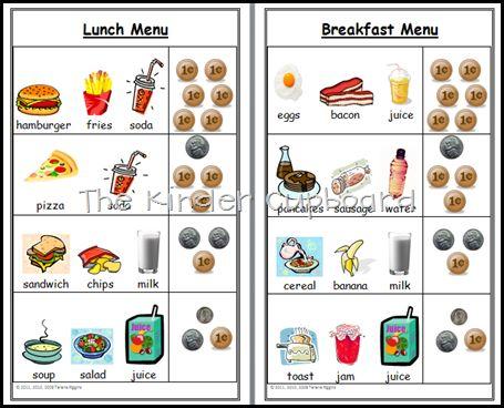 Dramatic Play center kitchen menu