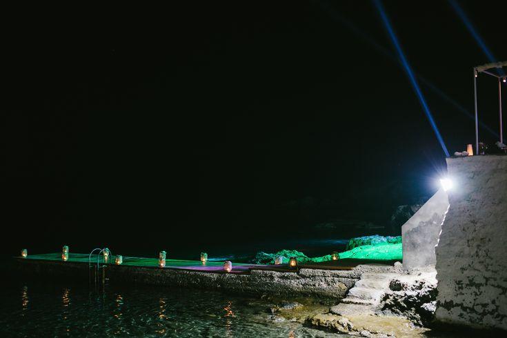 lafete, Syros, Cyclades, wedding, beach bar, night view