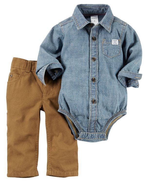 Complete with classic canvas pants and a chambray button-front bodysuit, this…