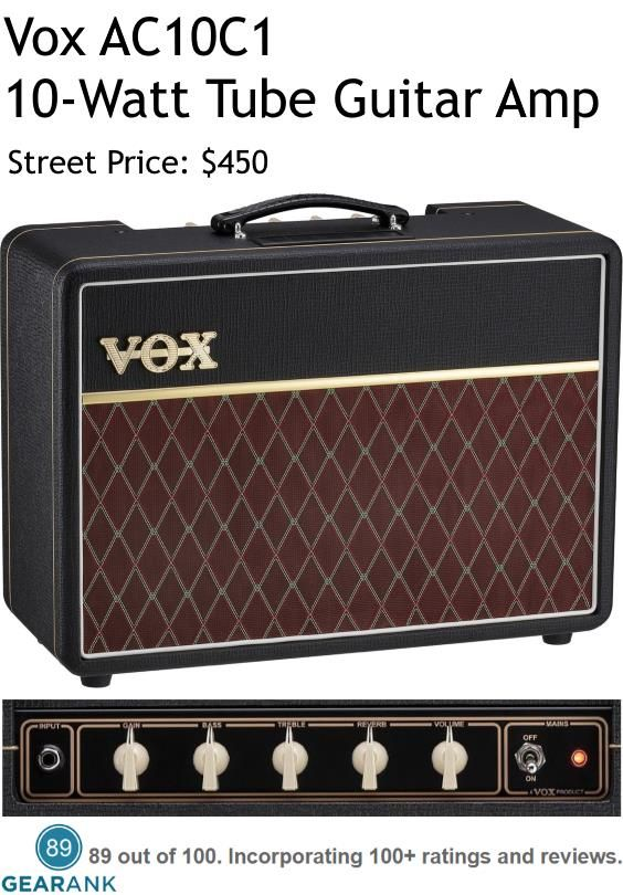 "Vox AC10C1 Tube Guitar Amp. Specifications - Preamp Tubes: 2 × 12AX7 -  Poweramp Tubes: 2 × EL84 -  Speaker: 1 x 10-inch Celestion VX10 - Input: 1/4"" - Output: 1/4"" External Speaker - Cabinet: Close Back -  Controls: Power Switch, Gain, Bass, Treble, Reverb, Volume. Check out this guide to The Best Combo Tube Amps Under $1000 https://www.gearank.com/guides/tube-amps-guitar"