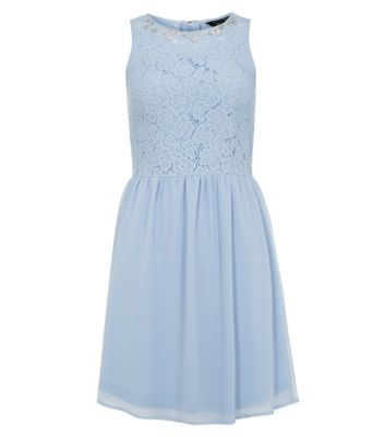 Teens Blue Jewelled Lace Sleeveless Dress