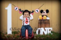 MICKEY MOUSE Tie with Suspenders 1st BIRTHDAY Set-Mickey Birthday Set with Suspenders-Disney Cake Smash-Baby Mickey Birthday One Piece on Etsy, $25.00