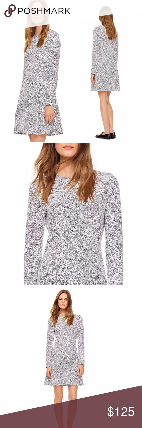 TORY BURCH Scribble Doodle Crewneck Dress A playful take on paisley: Our Crewneck Dress is detailed with a freehand scribble print. It brings graphic polish to the soft pima cotton — and channels the season's Sixties influence into a modern, easy yet elegant silhouette. Detailed with a drop waist and a mid-thigh hem, it's a great day-to-evening look, as comfortable as it is chic. Pima cotton. Crewneck. Relaxed fit. Long sleeves. Tory Burch Dresses