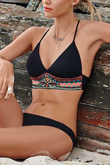 Black Stitching Random Geometrical Print Bikini Set - US$11.95 -YOINS