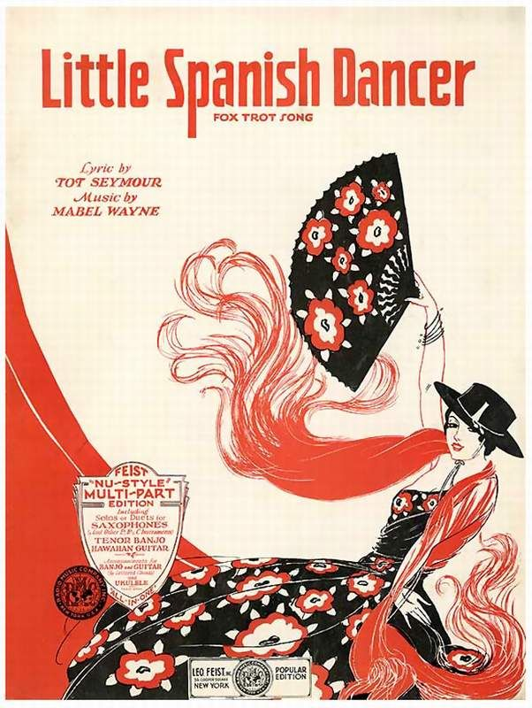 Vintage Art Deco Sheet Music: Little Spanish Dancer, fox trot