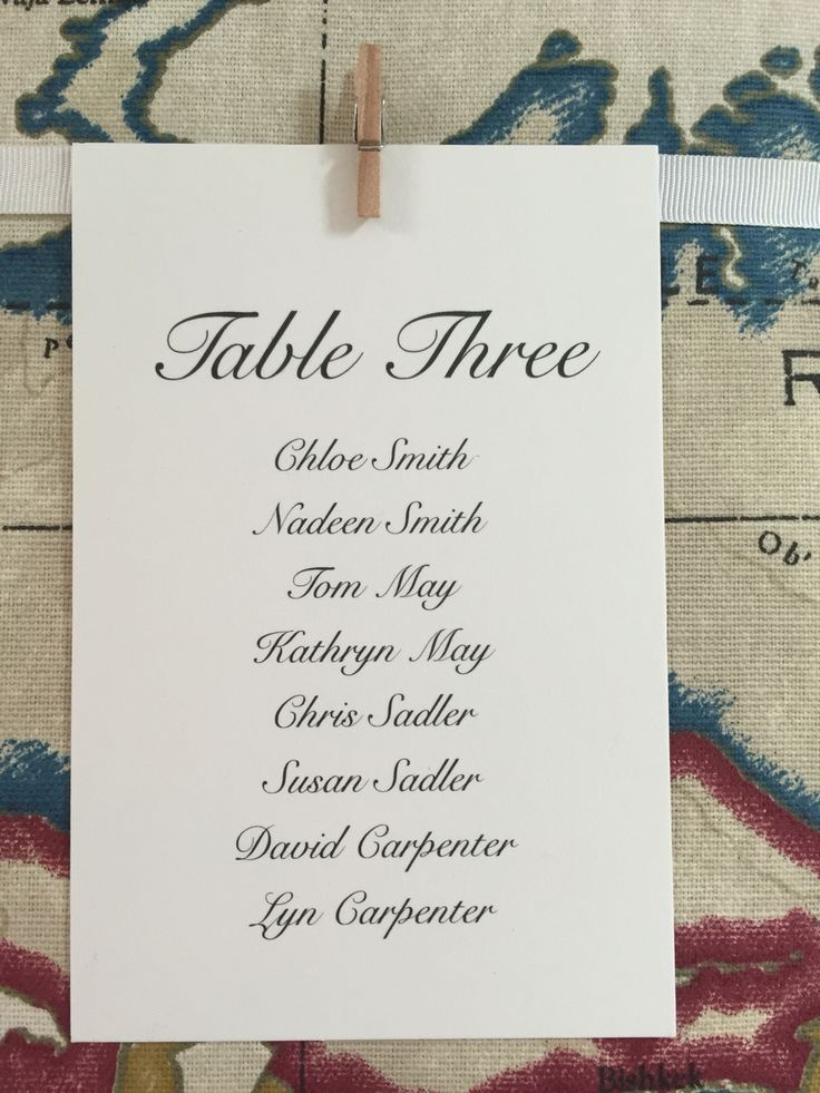 Table plan cards classic italics