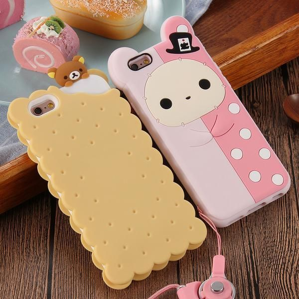 Case Cute 3D Cartoon Biscuit Case Soft Silicon Cover Phone Cases For Apple iPhone 6 6s 7 Plus 5 5s #Iphone4Cases