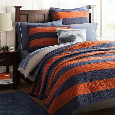 Rugby Stripe Quilt + Sham, Navy/Orange #pbteen. Just ordered for Grant.