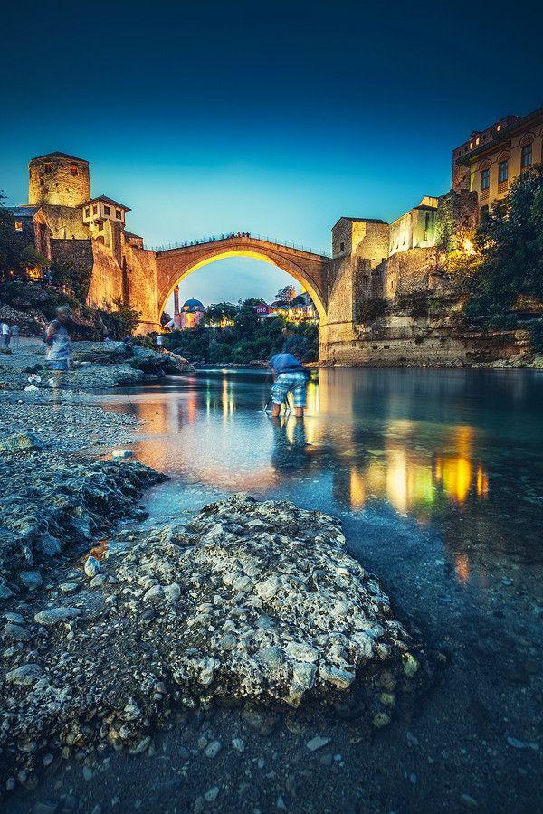 ~~...mostar VI... ~ sunset bridge view, Bosnia, Hergezovina by Roberto Pavic~~