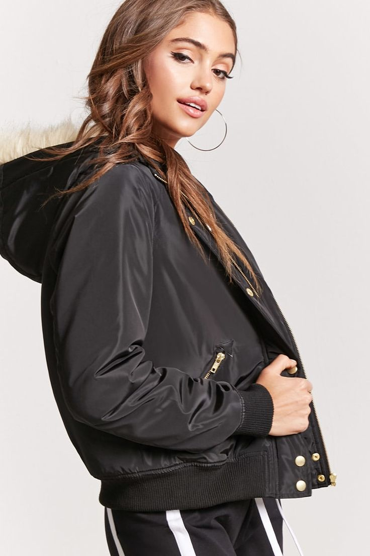 Padded Faux Fur-Lined Hooded Bomber Jacket - Forever 21