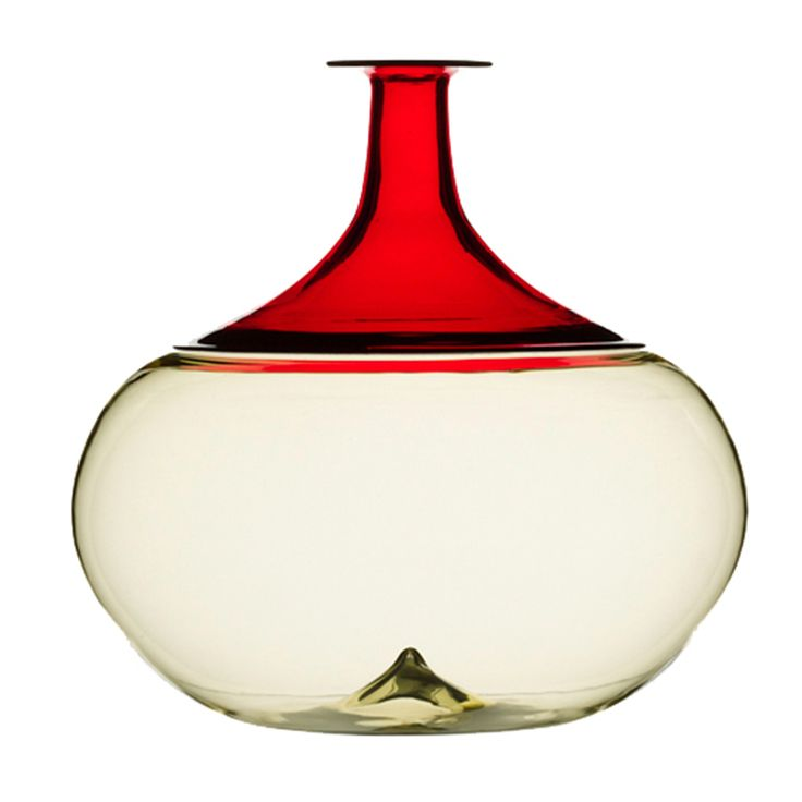 "Bottle series "" Bolle ""  502.01 Design Tapio Wirkkla Straw yellow and red Diameter 19 cm height 19 cm"