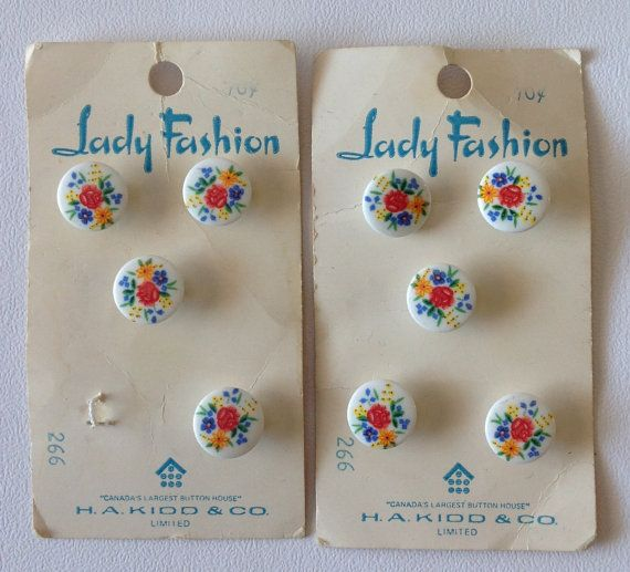 "2 Sets of Vintage Lady Fashion Floral Pattern Button Sets,  1/2"" each, total of 9 buttons $6.75"