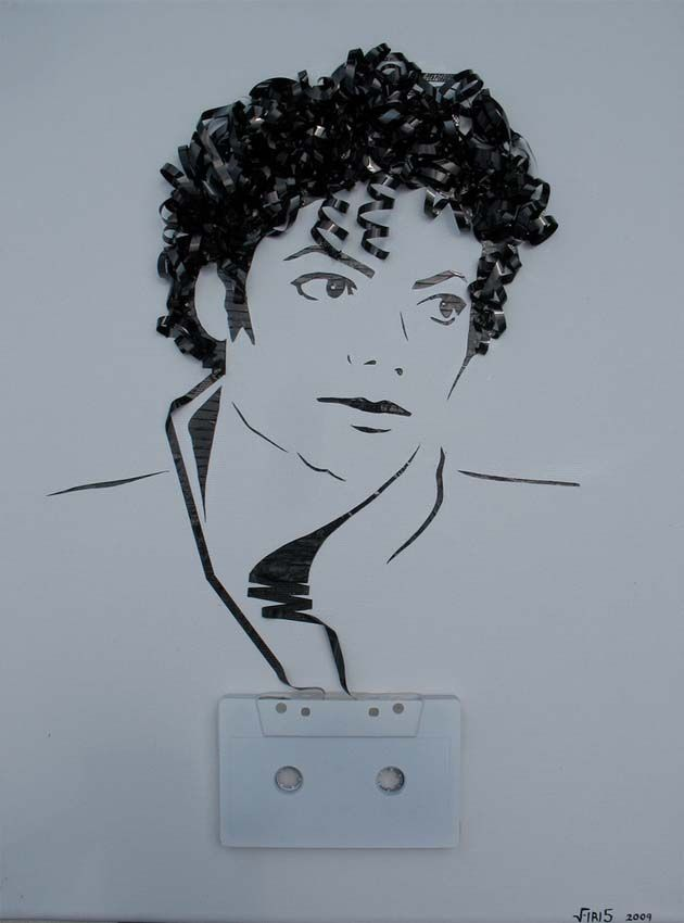 Impresionantes retratos de músicos con cintas de casetes por Erika Iris - FuriaMag | Arts Magazine