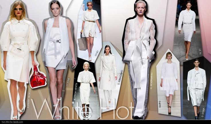 White Hot  Wit is de kleur van het seizoen, op jassen, op accessoires, op broeken, shirts en jurken. Wit is geen verrassing voor de zomer, maar in de afgelopen jaren werd het beschouwd als te voor de hand liggend. Voor Lente Zomer 2013 is wit alles. Start het seizoen met een witte trenchcoat en draag de trend tot hoog zomer met lichte jurken.