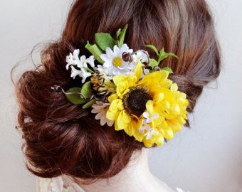 Sunflower wedding hair clip Sunflower hair by HollyHoopsArt