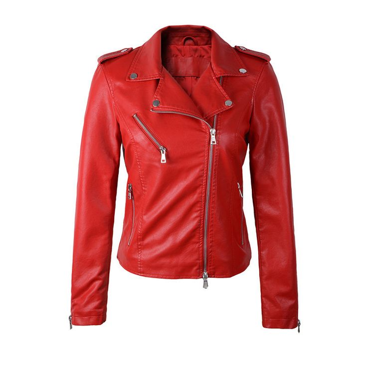 Women Leather Jackets, Slim, Short Leather Jacket, Red, Black
