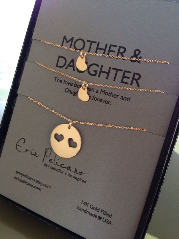 Mother Two Daughter Necklace Set GOLD // by erinpelicano on Etsy