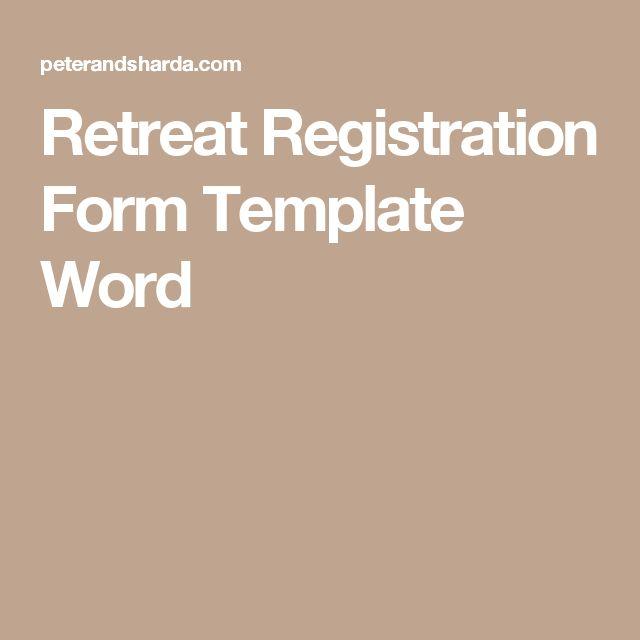 RetreatRegistrationForms  Retreat Registration Form Template