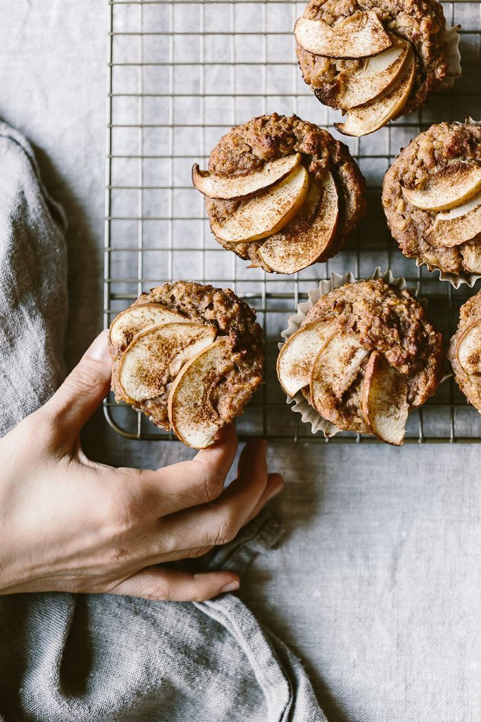 Naturally Sweetened Apple Almond Muffins: Guilt-free apple muffins made with almond and spelt flour and sweetened with dates.