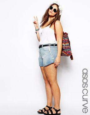 ASOS CURVE Exclusive Denim Short With Crochet Trim