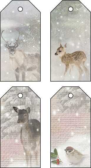 Free Christmas tags, deers in snow