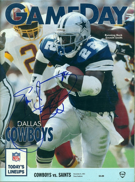 December 8, 1991, Autographed NFL Game Day Magazine, Dallas Cowboys vs New Orleans Saints, Texas Stadium, by Emmitt Smith by Joe Merchant